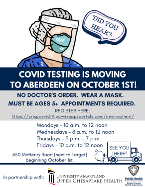 COVID-19 TESTING AT VEIP MOVES TO ABERDEEN BEGINNING OCTOBER 1