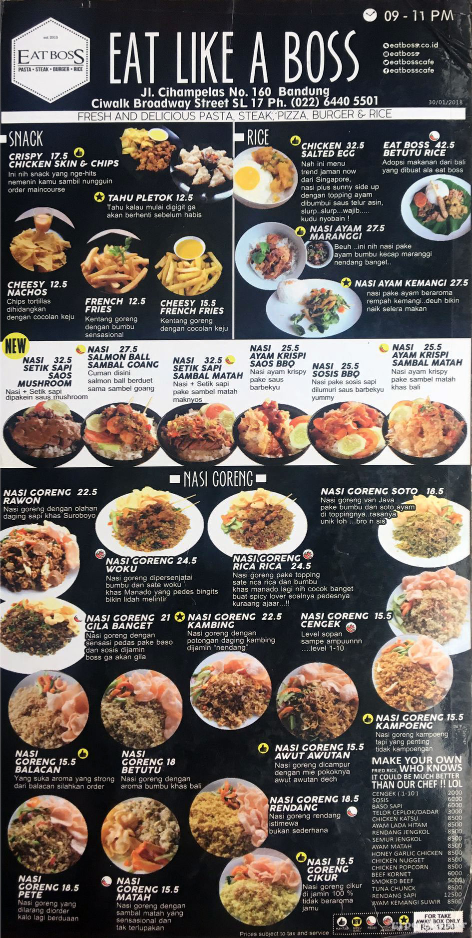 Info Lengkap Daftar Harga Terbaru Menu Eatboss Bandung