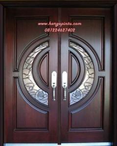 Pintu Rumah Utama Daun Pintu Double Panel Kaca Bundar