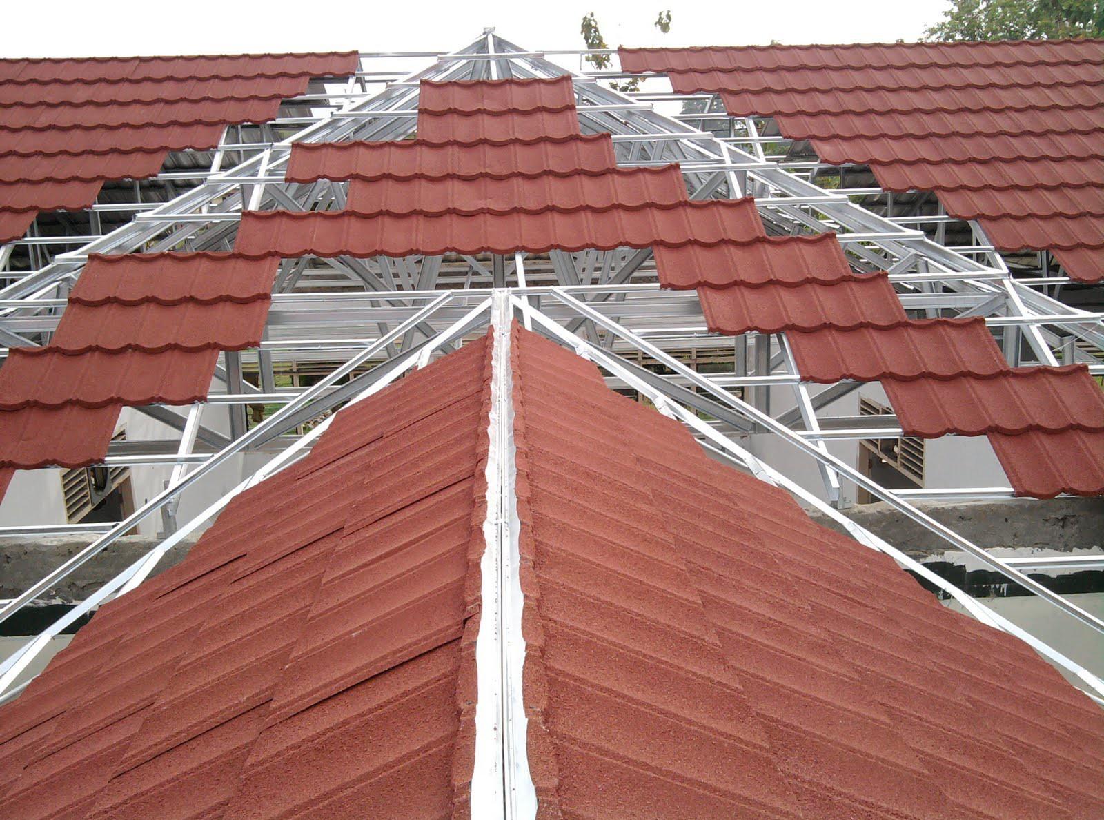 harga atap baja ringan lapis pasir genteng metal sky roof berpasir murah berkwalitas