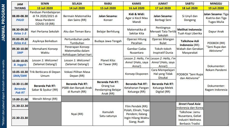 Jadwal Belajar TVRI Minggu Ke 14