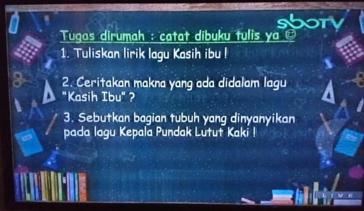 Soal dan Jawaban SBO TV 10 Agustus SD Kelas 1