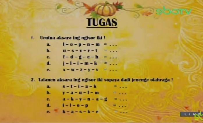 Soal dan Jawaban SBO TV 24 Agustus SD Kelas 1