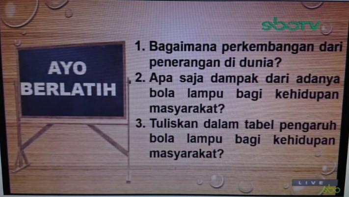 Soal dan Jawaban SBO TV 28 Agustus SD Kelas 6