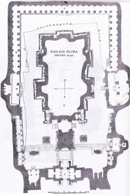 Kailash temple at ajanta ellora, construction plan and layout