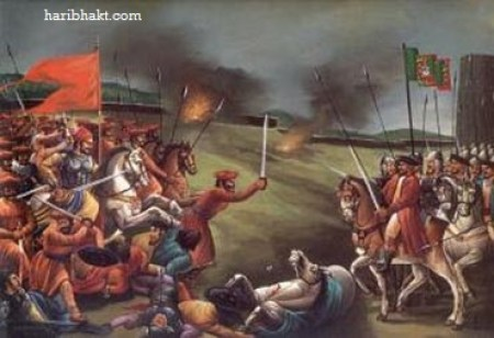 sambhaji maharaj fighting bravely with terrorist mughals