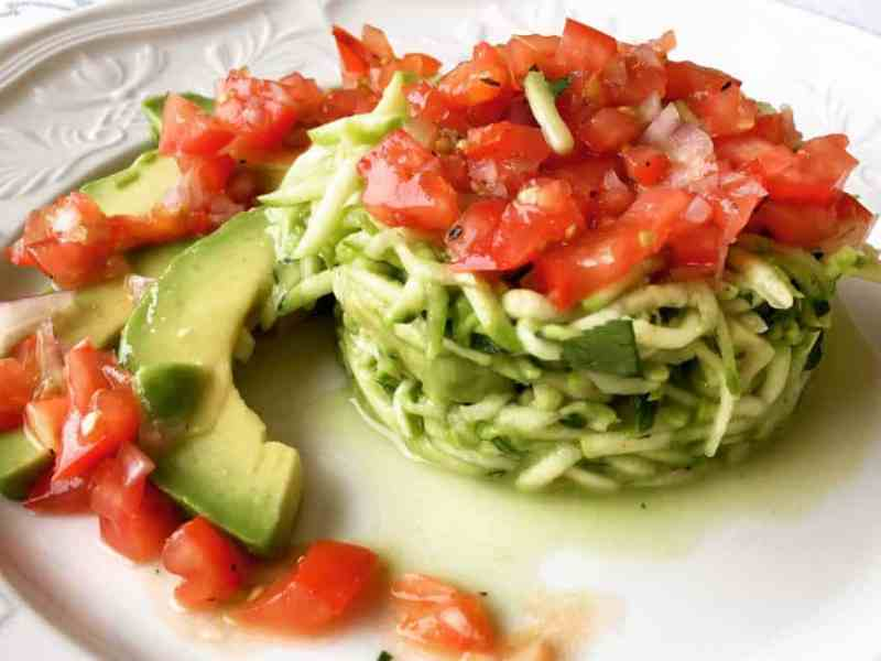 plated courgette salad with avocado and salsa