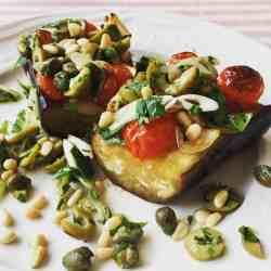 plated braised mediterranean aubergine