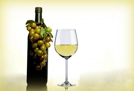 wine in glass near bottle