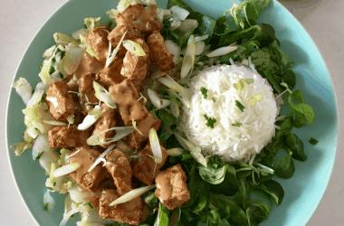crispy tofu, sate and rice
