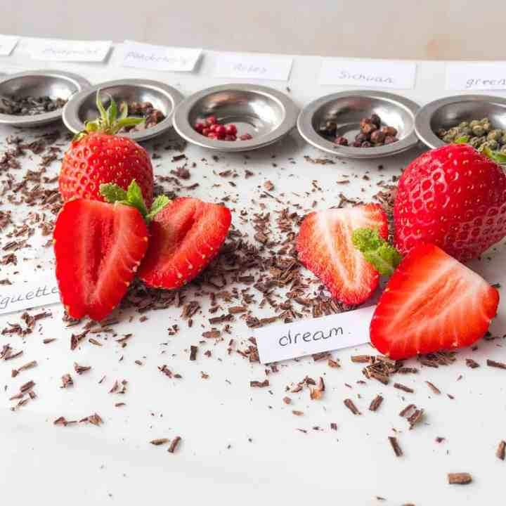 close up of the stawberry tasting plate