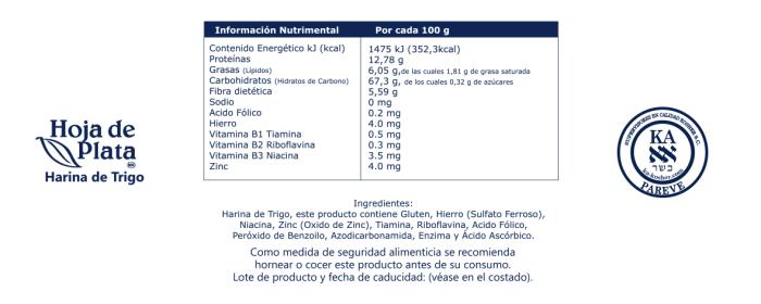 Información Nutrimental Hoja de Plata