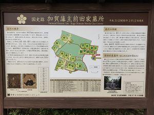 加賀藩主前田家墓所の案内地図