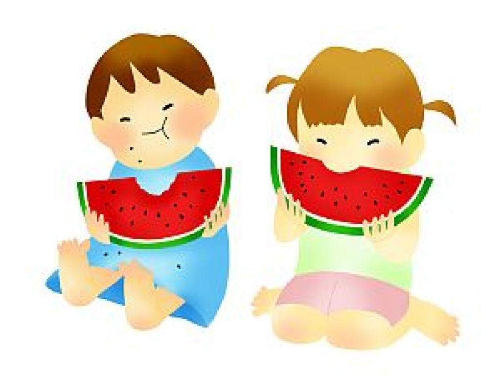 西瓜(スイカ)を食べる子どものイラスト