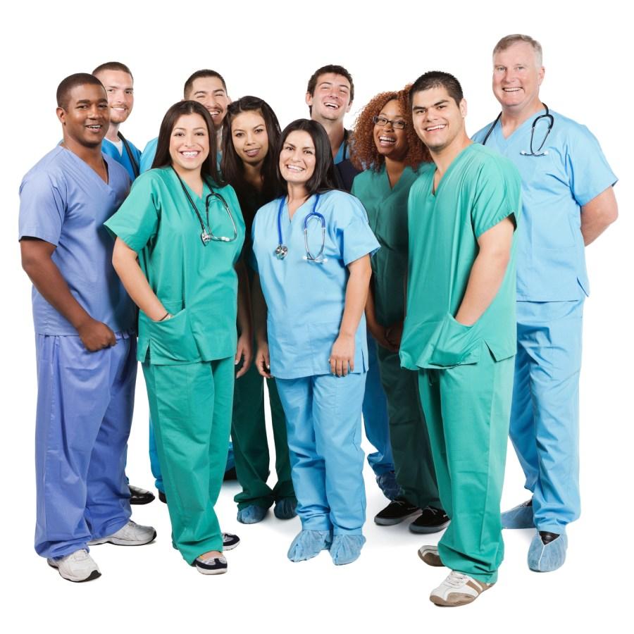 Diverse group of happy hospital nurses on white background