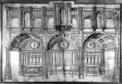 Elevation sketch of the original jube screen, Sainte-Waudru Church (front side nave)