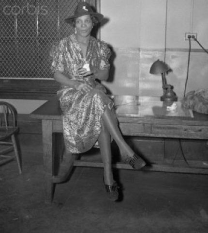 "18 Jan 1938, Manhattan, New York City, New York State, USA --- Original caption: Stephanie St. Clair Hamid, who several years ago was known as ""Madame Queen"" of Harlem's policy number rackets held on charges of using her estranged husband for a target. --- Image by © Bettmann/CORBIS"