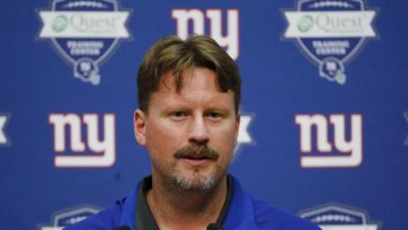 FILE - In this June 18, 2015, file photo, New York Giants offensive coordinator Ben McAdoo talks to reporters during NFL football minicamp in East Rutherford, N.J. A person familiar with the decision tells The Associated Press the Giants are hiring offensive coordinator Ben McAdoo as their next head coach. McAdoo, 38, is being given the job a little more than a week after Tom Coughlin stepped down after 12 seasons, the person spoke Wednesday on condition of anonymity because the team has not officially announced the hiring. (AP Photo/Julio Cortez, File)