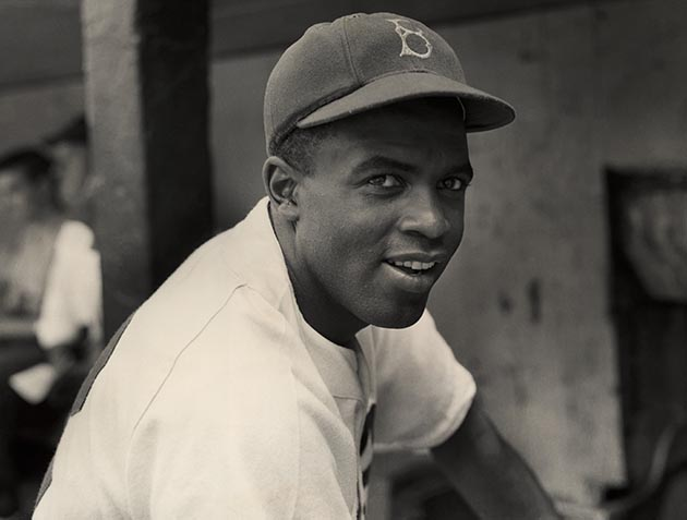 circa 1945: A portrait of the Brooklyn Dodgers' infielder Jackie Robinson in uniform. (Photo by Hulton Archive/Getty Images)