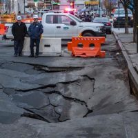 Sinkhole Opens Up Nearly Swallowing Parked Cars In Washington Heights