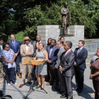 Harlem Speaker Melissa Mark-Viverito And Others Rally To Remove Offensive Statue