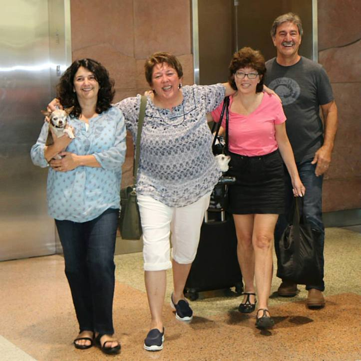 Harley, Mom, Dad, Michele, Teddy and Theresa Strader arriving in Denver after the Hero Dog Awards.