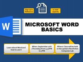 Microsoft Word Basics @ Harlingen Public Library - Nonfiction Computer Lab