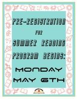Pre-Registration for Summer Reading Program Begins! @ Children's Department