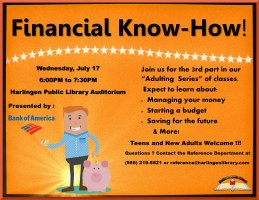 Adulting Series - Financial Know-How! @ Harlingen Public Library - Auditorium