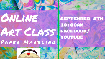 Art Class: Paper Marbling @ Harlingen Public Library Facebook Page and YouTube