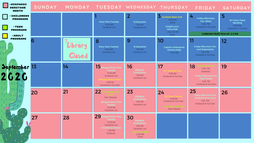 Image of September Calendar. Go to Home, Main Calendar for names, dates, and information about programs.