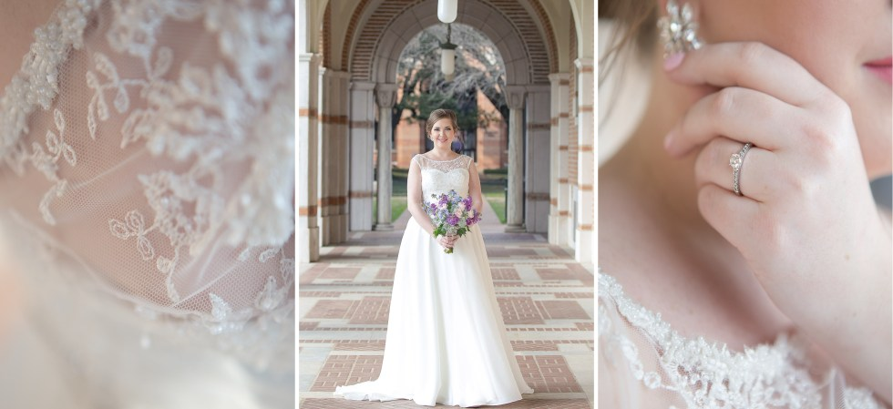 Bride at Rice University with Bouquet
