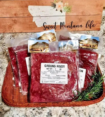 One pound packs of grass fed ground bison.