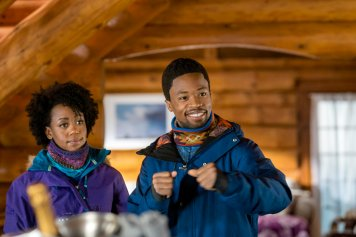 """A relationship writer at a women's magazine has recently sworn off dating and joins her best girlfriend for a snowboarding weekend. A reservation snafu forces them to share a chalet with a couple of guys they've never met, one of whom is a company CEO who is also lying low on the dating front. However, once he and she get to know one another better, they begin to wonder if perhaps they should rethink their whole """"non-dating"""" status, until each finds out what the other does for a living, and he bolts. Photo: Rukiya Bernard, Dewshane Williams Credit: Copyright 2017 Crown Media United States LLC/Photographer: Steven Ackerman"""