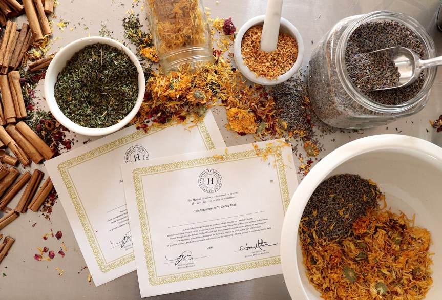 introductory herbal course by herbal academy – certificate copy