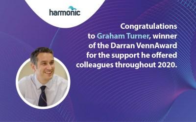 Graham Turner wins the Harmonic Darran Venn Award
