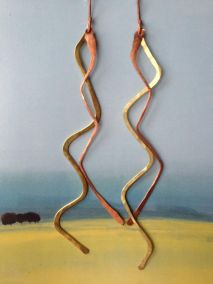 Brass + Copper Zig Zag Handmade Earrings