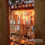 Unique Chandeliers brighten your table.