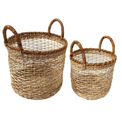 HOB1797 natural, Set 2 round basket, bahan banana