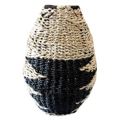 HVS551, african belly vase, bahan metal, banana, seagrass, topdia.16cm, basedia. 27cm, bellydia. 39cm, H.52,7cm