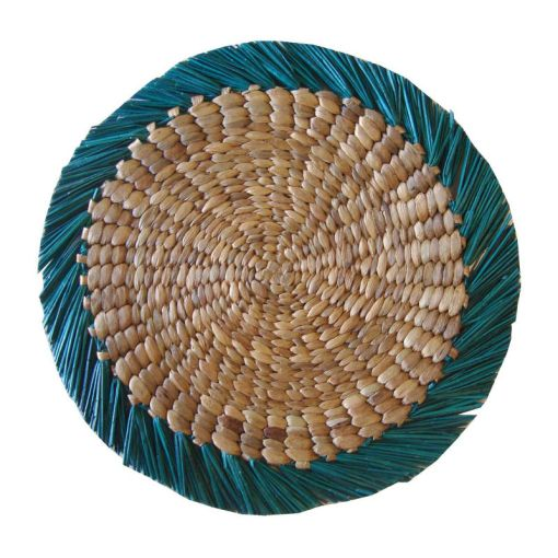 HPM728, turqoise round placemat, bahan water hyacinth mendong, size dia. 40cm