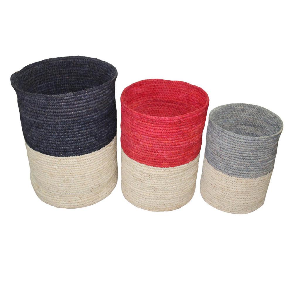 HOB1752, duotone basket, bahan woven grass, size L (dia.45cmxh.60cm) M (dia. 40cmxh.52cm) s (dia.33cmxh.42,5cm)