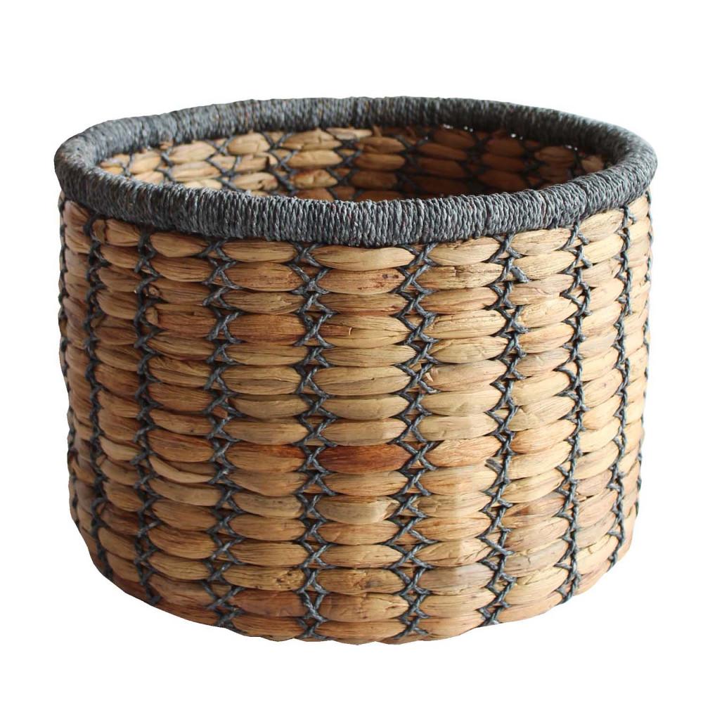 HOB1760, round basket, bahan water hyacinth, paper, size topdia.41,5cm, basedia 40cm, h.30,5cm