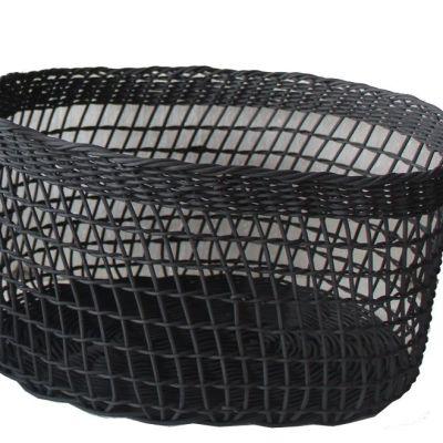 Rattan oval basket in black