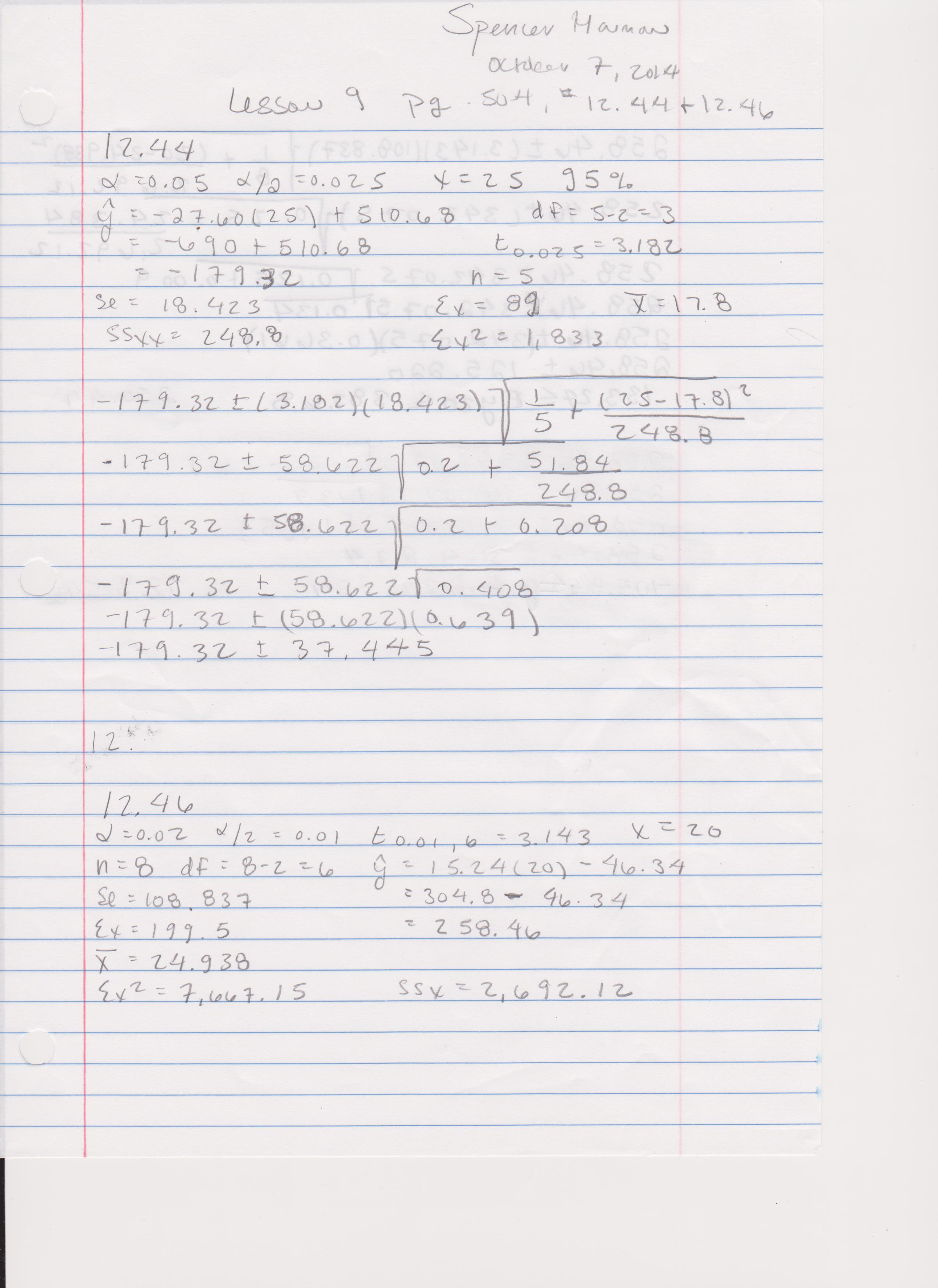 Lesson 9 Assignment: Complete Problems 12.44, 12.46 on p