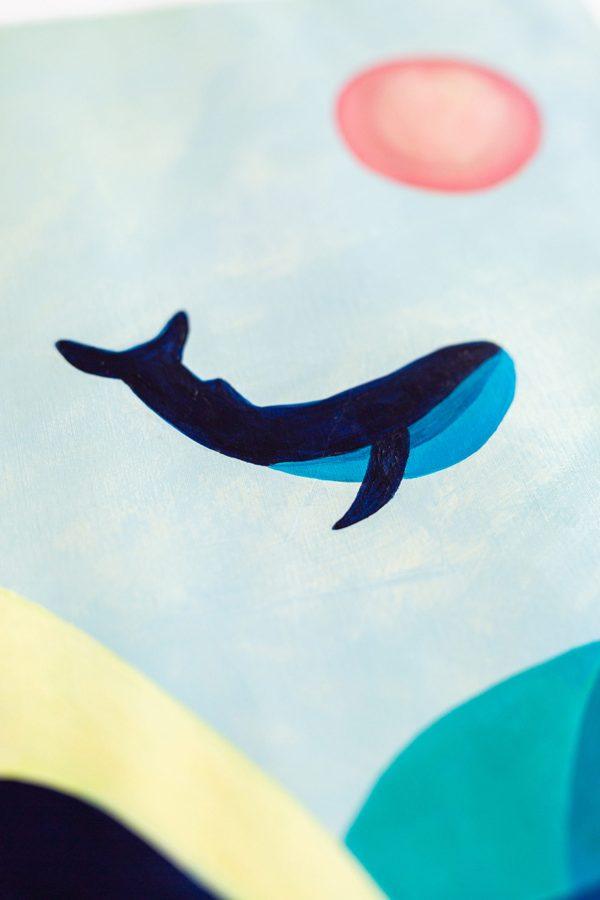Peinture acrylique la baleine bleue décoration intérieure