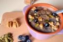 Blueberry Amaranth Porridge with Walnuts & Pumpkin Seeds, served with Rice Milk & Brown Rice Syrup (DSC_836)