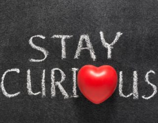 stay curious phrase handwritten on blackboard with heart symbol instead of O