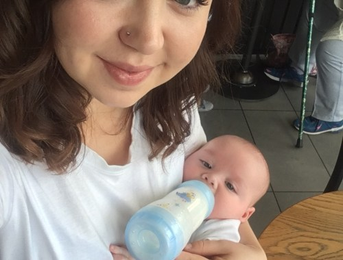 a mum with her bottle fed baby