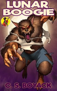 Book Cover for Lunar Boogie by C S Boyack. Shows werewolf in ripped clothing
